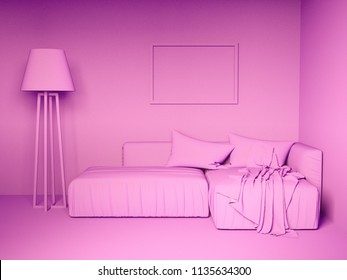 Monochrome pink colorized design interior. 3d rendering illustration