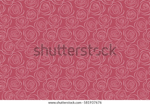 Monochrome raster roses petals on a pink background.