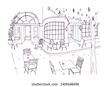 Monochrome rough sketch of european outdoor or sidewalk cafe, restaurant or coffeehouse with tables and chairs standing on city street. illustration hand drawn in black and white colors