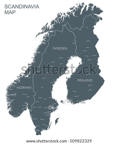 Monochrome Scandinavia Map Scandinavia Countries Black Stock ...