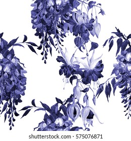 Monochrome seamless floral pattern.Tropical flowers fuchsia and wisteria. Exotic.Watercolor painting.