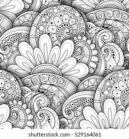 Monochrome Seamless Pattern with Floral Motifs. Endless Texture with Flowers, Leaves etc. Natural Background in Doodle Line Style. Coloring Book Page. 3d Contour Illustration. Abstract Art