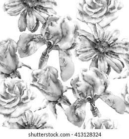 Monochrome seamless pattern  with flowers. Rose. Iris. Watercolor.  Hand drawn.