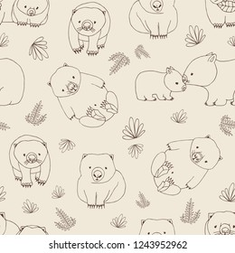 Monochrome seamless pattern with funny wombats and plants hand drawn with contour lines on light background. Backdrop with cute Australian endemic animals. Childish illustration for wallpaper.