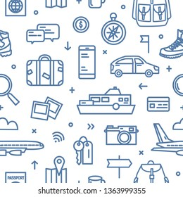 Monochrome seamless pattern with transports, tourism and adventure travel attributes drawn with blue contour lines on white background. Touristic backdrop. Modern illustration in lineart style