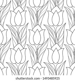 Monochrome Seamless Pattern with Tulips, Floral Motifs. Endless Texture with Flowers, Leaves and Swirls. Batik, Paisley Garden Style. Coloring Book Page. Contour Illustration. Abstract Art