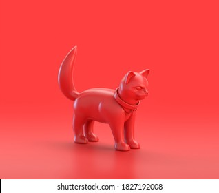 monochrome single color red 3d Icon, a group of ... in red background,single color, 3d rendering, household objects