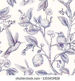 Monochrome sketch pattern with birds and flowers. Hummingbirds and flowers, retro style, antique backdrop. Vintage flower design for web, wrapping paper, cover, textile, fabric, wallpaper