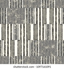 Monochrome Striped Block Motif Distressed Textured Background. Seamless Pattern.