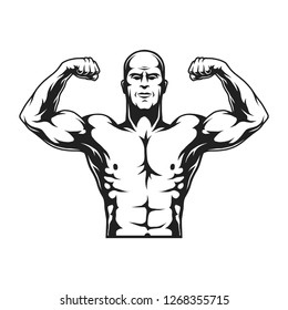 Monochrome strongman concept with strong muscles in vintage style isolated  illustration