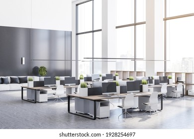 Monochrome style open space office with high ceiling, marble floor, white furniture and wooden tables. 3D rendering