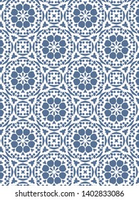 Monochrome textured blue and white pattern. Abstract geometric illustration. Traditional tile design.