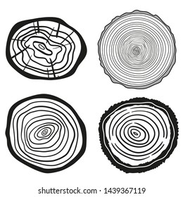 Monochrome tree rings on white. Set of cross section. Outline for your design. Black and white illustration