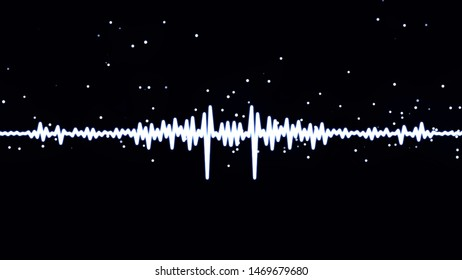 Monochrome voice record, artificial intelligence, waveform equalizer and visualization of audio wave. Animation. White pulsating signal on black background.