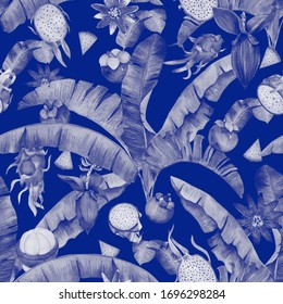Monochrome watercolor pattern, white on blue tropical fruits, flowers  and banana leaves