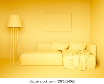 Monochrome yellow colorized design interior. 3d rendering illustration
