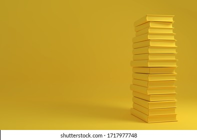 Monochrome yellow image with a tall stack of books on the solid background. 3D illustration