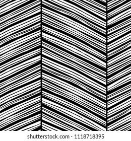Monochrome zigzag seamless pattern with hand drawn black lines. Raster version