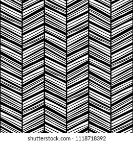 Monochrome zigzag seamless pattern with rough hand drawn black lines. Raster version