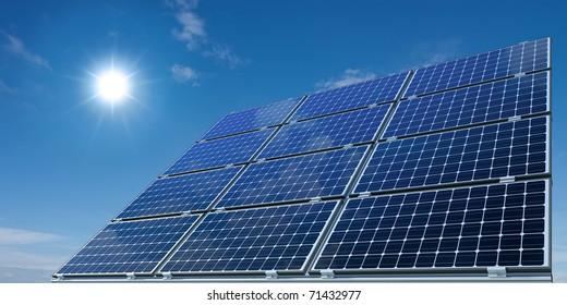 mono-crystalline solar panels against a sunny sky