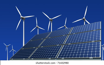 mono-crystalline solar panels and wind turbines against a blue background