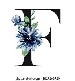 Monogram F, art alphabet, letter with watercolor flowers and leaf. Floral initial perfectly for personalization wedding invitations, greeting card and other design. Hand painting.