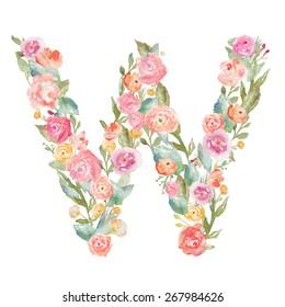 Monogram Letter W Made of Flowers.