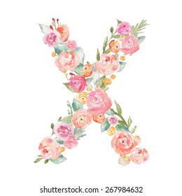 Monogram Letter X Made of Flowers