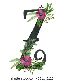 Monogram letter Z made of black chalkboard background and floral composition from red wine color anemone flowers, green leaves, fern and berries. Watercolor flower alphabet. Real watercolor painting.