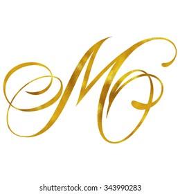 Monogram M Gold Faux Foil Monograms Metallic Initials Isolated White Background