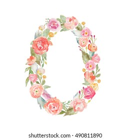 Monogram Number Zero Made of Watercolor Flowers