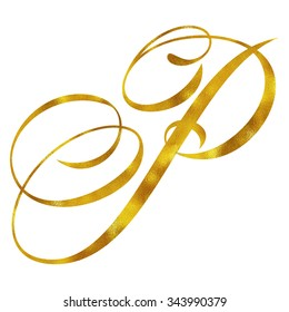 Monogram P Gold Faux Foil Monograms Metallic Initials Isolated White Background