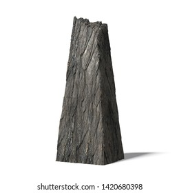 monolith, ancient standing stone isolated on white (3d illustration background)