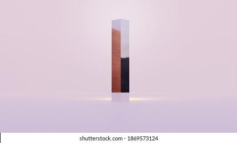 Monolith minimalist design, 3d rendering illustration