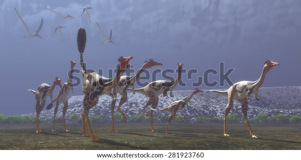 Mononykus Dinosaurs - Mononykus was a carnivorous dinosaur that lived in Mongolia in the Cretaceous Period. Here a flock of Pteranodons follow a group of Mononykus waiting for them to catch prey.