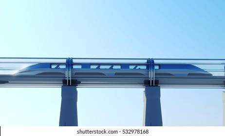 monorail futuristic train in tunnel. 3d illustration