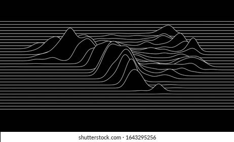 monotone line sign of Mountain geometry contour line background, for concept minimal mountain hill skyline, ocean wave.