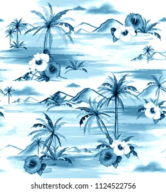 Monotone on blue shade Hand drawing watercolor painting island hawaiian style seamless pattern for fashion ,fabric and all prints