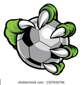 A monster or animal claw holding a soccer football ball