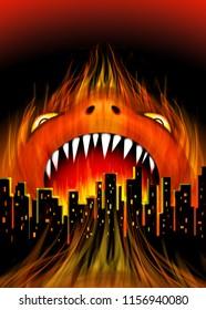 Monster City Fire Beast Metaphor