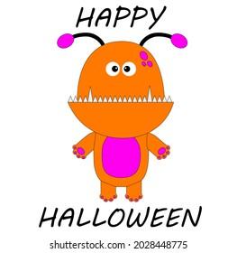 Monster design to celebrate Halloween day. Lettered design. Illustration. Happy Halloween.