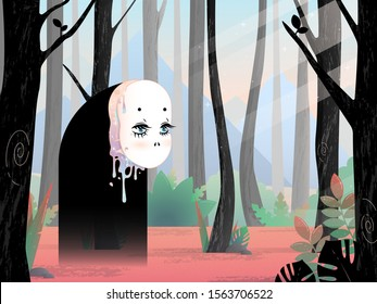 a monster with a doll face and sad blue eyes, walks through the forest