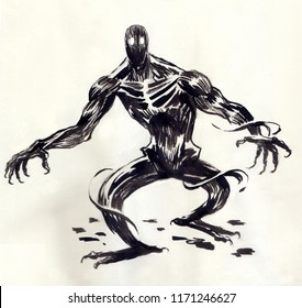 monster drawn in Chinese ink