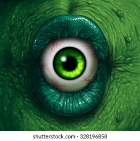 Monster eye halloween ogre demon closeup with evil green lips biting into a disgusting eyeball as a nightmare zombie or scary witch concept.