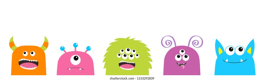 Monster face set. Cute cartoon scary funny character. Happy Halloween. Colorful silhouette. Baby collection. T-shirt design. White background. Flat design.