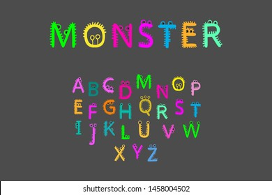 Monster hand drawn font in cartoon style fur and eyes alive letters colorful on grey bright vibrant