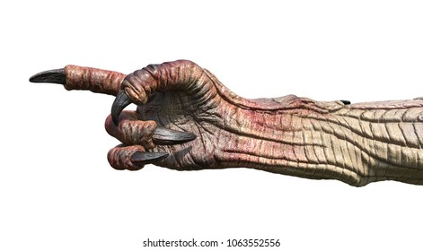 A monster hand pointing it's finger - 3d render.