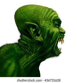 Monster head side view as a zombie face or mutant beast screaming as a creepy halloween or angry scary demon symbol with wrinkled skin isolated on white in a realistic 3D illustration style.