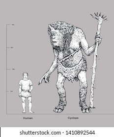 Monster illustration. Cyclops and human anatomy comparison. Fantasy drawing.