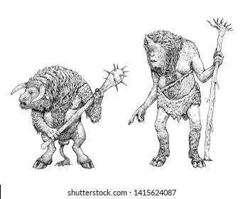 Monster illustration. Minotaur and cyclops anatomy comparison. Fantasy drawing.